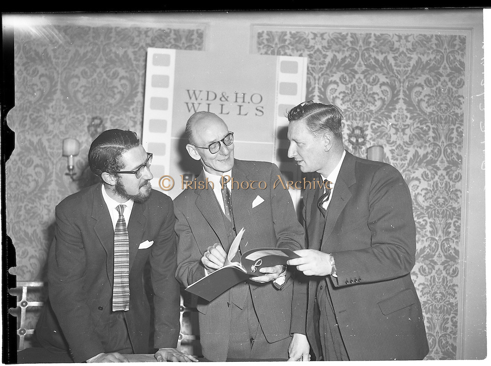 30/05/1960<br /> 05/30/1960<br /> 30 May 1960<br /> W.D. &amp; H.O. Wills and Gael Linn press conference on new collaboration at the Hibernian Hotel Dublin. Image shows (l-r): Louis Marcus, Film Director; A. Price, Advertising Manager, W.D. &amp; H.O. Wills and Riobard Mac Gabhrain, Manager Gael Linn.