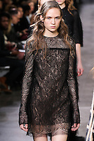 Adrienne Jüliger walks the runway wearing Jason Wu Fall 2016, Hair by Paul Hanlon for Morocconoil, Makeup by Yadim for Maybelline, shot by Thomas Concordia during New York Fashion Week on February 12, 2016