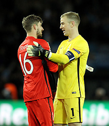 Joe Hart of Manchester City and Kevin Trapp of Paris Saint-Germain shake hands at full time - Mandatory by-line: Robbie Stephenson/JMP - 06/04/2016 - FOOTBALL - Parc des Princes - Paris,  - Paris Saint-Germain v Manchester City - UEFA Champions League Quarter Finals First Leg