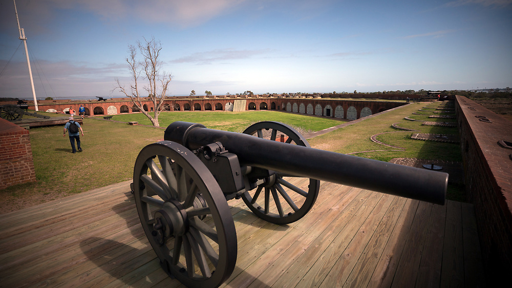 COCKSPUR ISLAND, GA. - FEBRUARY 21, 2018: Fort Pulaski National Monument is visited by every 350,000 visitors a year. Today most of the fort is open to the public except for the visitors center that was damaged by a tornado. (WABE Photo/Stephen B. Morton)