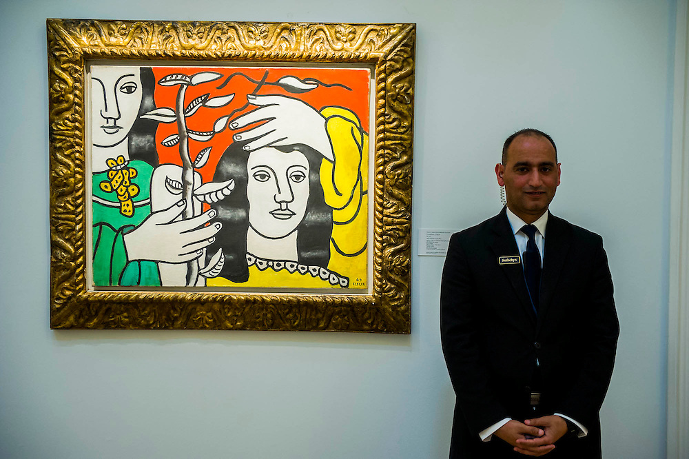 Sotheby's London Exhibition of Sale Highlights from the Forthcoming Major New York Auctions of Contemporary and Impressionist and Modern Art, including exceptional Diamonds from Geneva. The auctions will include: $25-35 million masterpiece by Gerhard Richter;Leger - Deux figures et un fleur $3-5m (pictured) They will take place in New York and Geneva 11-15 April 2014. Sotheby's, New Bond St, London, UK.