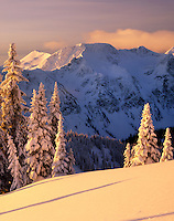 Winter dawn in the Cariboo Mountains British Columbia