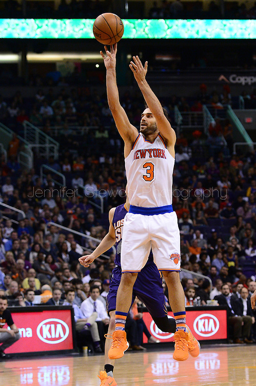 Mar 9, 2016; Phoenix, AZ, USA; New York Knicks guard Jose Calderon (3) shoots the ball against the Phoenix Suns in the second half at Talking Stick Resort Arena. The Knicks defeated the Suns 128-97. Mandatory Credit: Jennifer Stewart-USA TODAY Sports