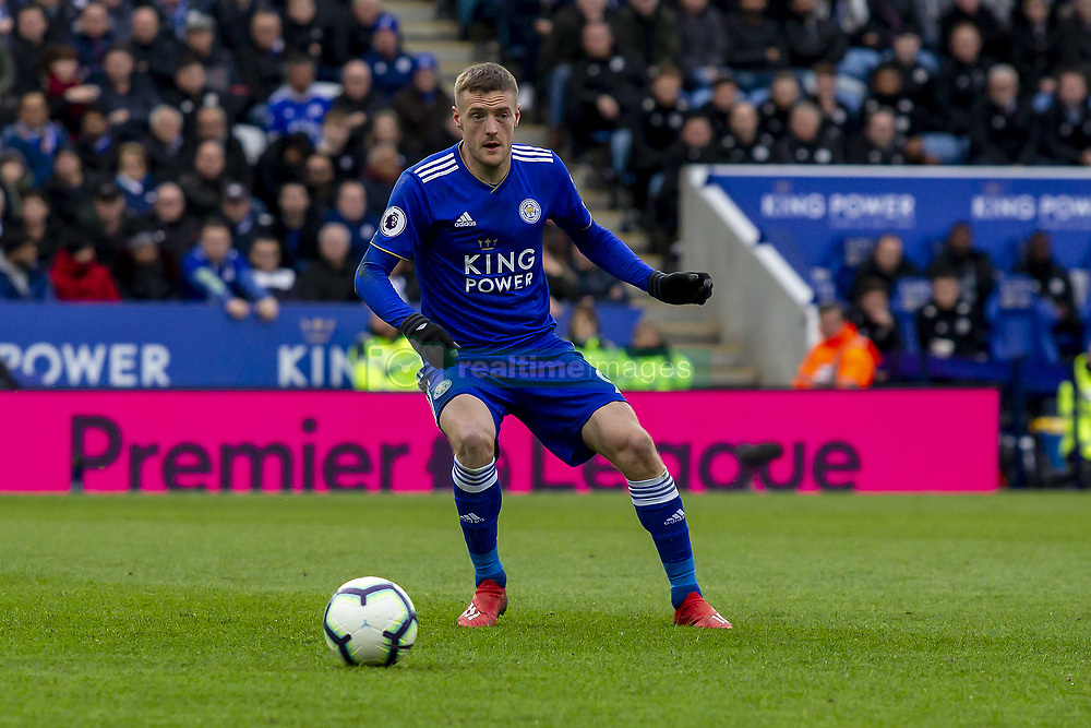 March 9, 2019 - Leicester, Leicestershire, United Kingdom - Jamie Vardy of Leicester City waiting for the ball during the Premier League match between Leicester City and Fulham at the King Power Stadium, Leicester on Saturday 9th March 2019. (Credit Image: © Mi News/NurPhoto via ZUMA Press)