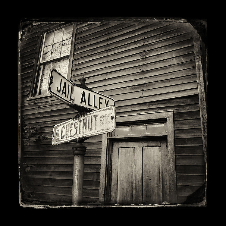 "Charles Blackburn image of the corner of Jail Alley and Chestnut streets in Mineral Point, WI. 5x5"" print."