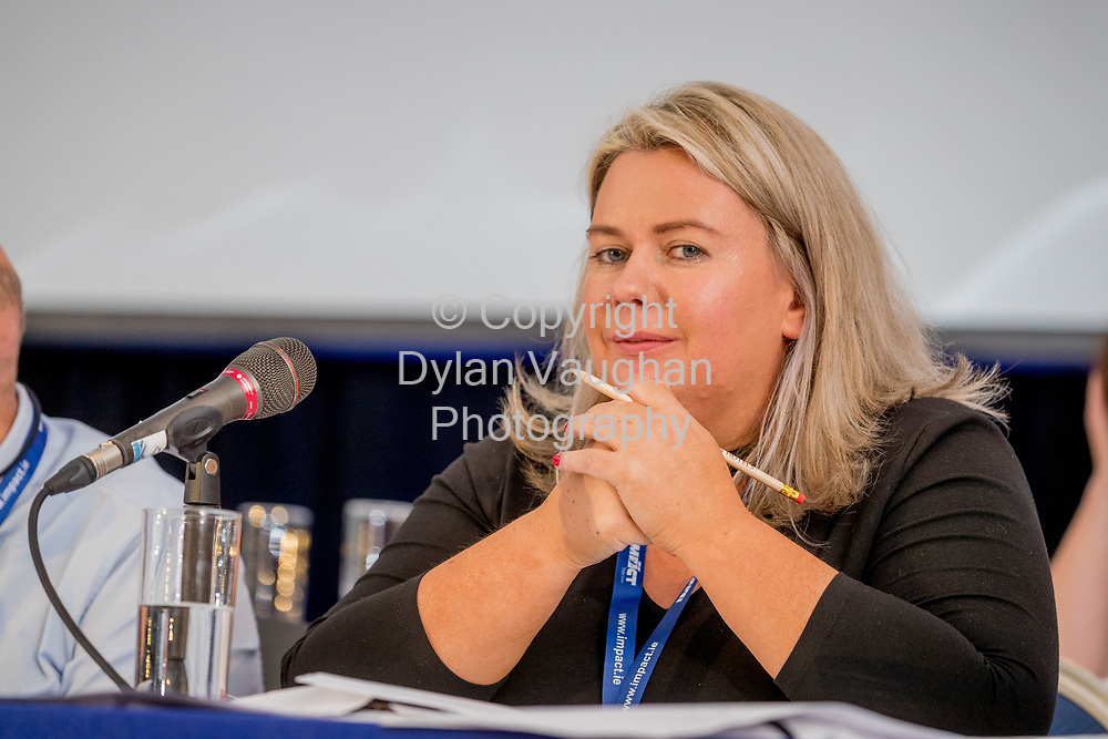 1-6-17<br />  <br /> Maura Cahalan, HWDEC Cathairleach pictured at the IMPACT Health and Welfare Division Conference in Wexford.<br /> Picture Dylan Vaughan.