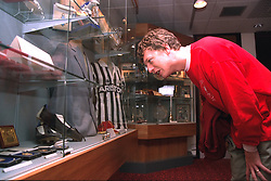 LIVERPOOL, ENGLAND - 1996: John Power of band Cast in the trophy room at Anfield, home of Liverpool FC. (Pic by David Rawcliffe/Propaganda)