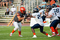 KELOWNA, BC - AUGUST 3:   Jack Proskow #52 of Okanagan Sun blocks Cameron Wright QB #10 of Kamloops Broncos at the Apple Bowl on August 3, 2019 in Kelowna, Canada. (Photo by Marissa Baecker/Shoot the Breeze)