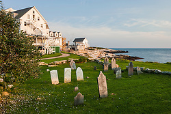 The cemetery next to the Oceanic Hotel on Star Island, Rye, New Hampshire. Isles of Shoals.