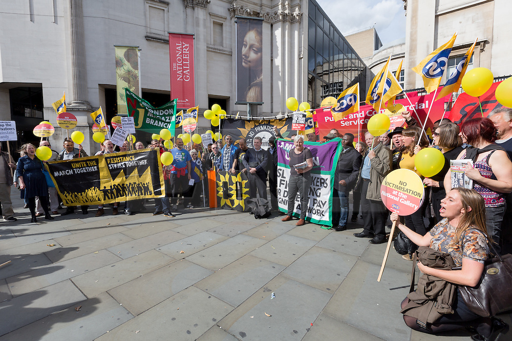 © Licensed to London News Pictures. 24/09/2015. London, UK. Candy Udwin and protesters  demonstrate during a rally outside the National Gallery in Trafalgar Square in London as part of an ongoing dispute over privatisation and alleged victimisation. The protest today forms part of a day of action marking 100 days of National Gallery strike that members and supporters of the Public and Commercial Services Union (PCS) are taking part in today, supported by the TUC. Photo credit : Vickie Flores/LNP