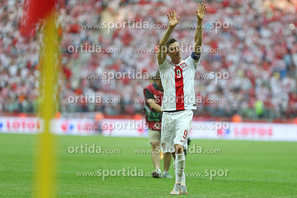 13.06.2015, Nationalstadion, Warschau, POL, UEFA Euro 2016 Qualifikation, Polen vs Greorgien, Gruppe D, im Bild ROBERT LEWANDOWSKI - RADOSC // during the UEFA EURO 2016 qualifier group D match between Poland and Greorgia at the Nationalstadion in Warschau, Poland on 2015/06/13. EXPA Pictures &copy; 2015, PhotoCredit: EXPA/ Pixsell/ LUKASZ GROCHALA/CYFRASPORT<br /> <br /> *****ATTENTION - for AUT, SLO, SUI, SWE, ITA, FRA only*****