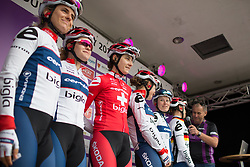 Cervélo-Bigla Cycling Team riders stand on the sign-on podium before Stage 1 of the Ladies Tour of Norway - a 101.5 km road race, between Halden and Mysen on August 18, 2017, in Ostfold, Norway. (Photo by Balint Hamvas/Velofocus.com)