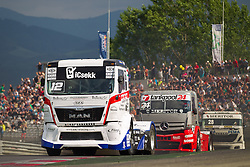 06.07.2013, Red Bull Ring, Spielberg, AUT, Truck Race Trophy, Renntag 1, im Bild Benedek Major, (Oxxo Energy Truck Race Team, #12), Ellen Lohr, (MCO, Tankpool 24 Racing, #24), Markus Altenstrasser, (AUT, Team Schwaben-Truck, #28) // during the Truck Race Trophy 2013 at the Red Bull Ring in Spielberg, Austria, 2013/07/06, EXPA Pictures © 2013, PhotoCredit: EXPA/ M.Kuhnke