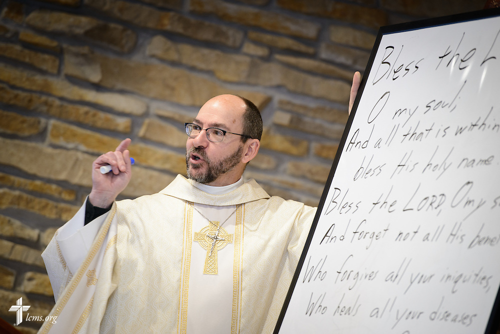 The Rev. Peter Bender, pastor of Peace Lutheran Church in Sussex, Wis., teaches adult Bible class on Transfiguration Sunday, Feb. 7, 2016, in Sussex. LCMS Communications/Erik M. Lunsford