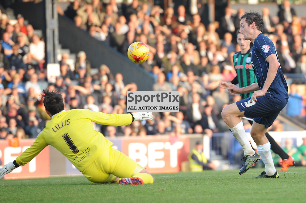 Southends David Mooney gets a shot away during the Southend v Rochdale game in Sky Bet League 1 on the 31st October 2015