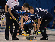 "Glasgow. SCOTLAND. Scotland's, Hammy McMILLAN, follows the run of his ""Stone"" during the ""Round Robin"" Game.  Scotland vs Italy at the Le Gruyère European Curling Championships. 2016 Venue, Braehead  Scotland<br /> Wednesday  23/11/2016<br /> <br /> [Mandatory Credit; Peter Spurrier/Intersport-images]"