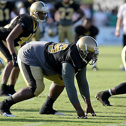 August 9, 2011; Metairie, LA, USA; New Orleans Saints defensive tackle Aubrayo Franklin (99) during training camp practice at the New Orleans Saints practice facility. Mandatory Credit: Derick E. Hingle