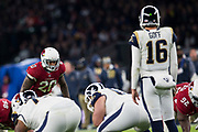 Arizona Cardinals Inside Line Backer (20) Bucannon, Deone eyes up Los Angeles Rams Quarterback (16) Goff, Jared during the International Series match between Arizona Cardinals and Los Angeles Rams at Twickenham, Richmond, United Kingdom on 22 October 2017. Photo by Jason Brown.