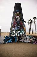 Photo Randy Vanderveen.Venice Beach, California.A graffiti wall located just off the walk in Venice Beach, California provides a canvas for street artists.