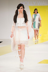 © Licensed to London News Pictures. 01/06/2015. London, UK. Collection by Holly Walsh. Fashion show of De Montfort University (Leicester) at Graduate Fashion Week 2015. Graduate Fashion Week takes place from 30 May to 2 June 2015 at the Old Truman Brewery, Brick Lane. Photo credit : Bettina Strenske/LNP