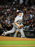 Oct. 5 2011; Phoenix, AZ, USA; Milwaukee Brewers pitcher Randy Wolf (43) delivers a pitch during the first inning against the Arizona Diamondbacks at game four of the 2011 NLDS at Chase Field.  Mandatory Credit: Jennifer Stewart-US PRESSWIRE..