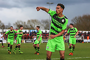 Forest Green's Kurtis Guthrie celebrates scoring FGR's 2nd goal on the stroke of half time during the Vanarama National League match between Bromley FC and Forest Green Rovers at Hayes Lane, Bromley, United Kingdom on 28 March 2016. Photo by Shane Healey.