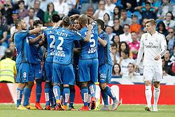 23.05.2015, Estadio Santiago Bernabeu, Madrid, ESP, Primera Division, Real Madrid vs FC Getafe, 38. Runde, im Bild Getafe's players celebrate goal // during the Spanish Primera Division 38th round match between Real Madrid CF and Getafe FCat the Estadio Santiago Bernabeu in Madrid, Spain on 2015/05/23. EXPA Pictures © 2015, PhotoCredit: EXPA/ Alterphotos/ Acero<br /> <br /> *****ATTENTION - OUT of ESP, SUI*****