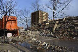 To make place for construction of 57 new rental units Philadelphia Housing Authority (PHA) demolished two of the three high-rises in the Sherwood neighborhood, on Saturday morning.