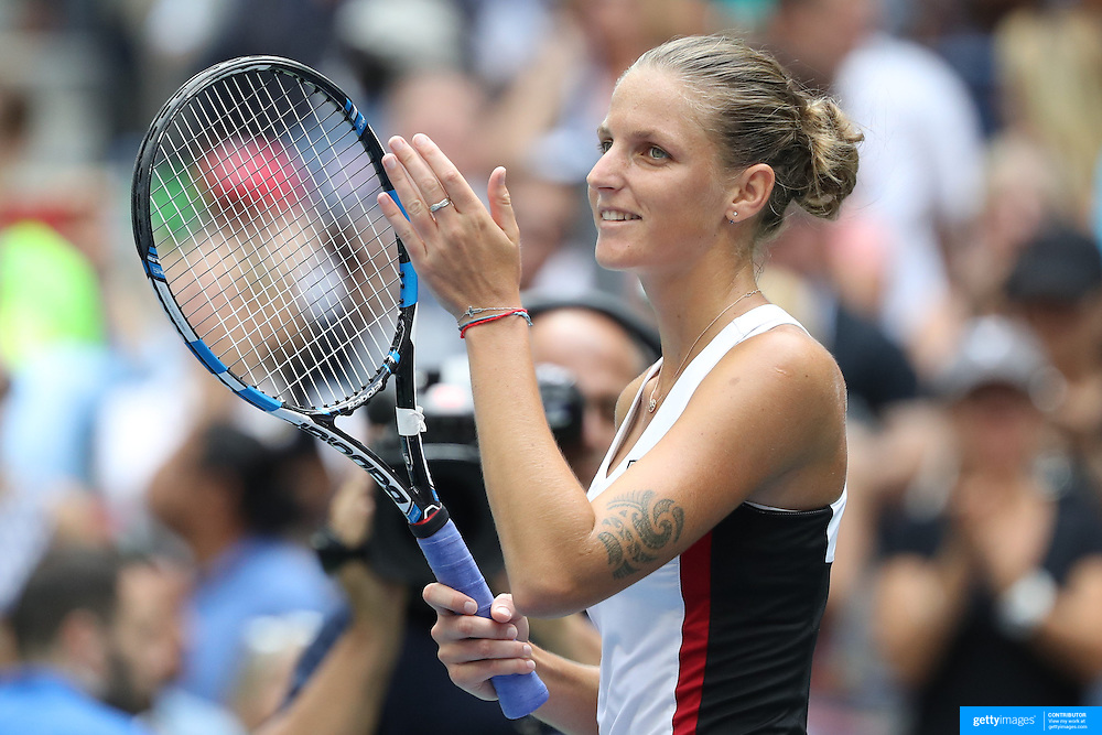 2016 U.S. Open - Day 8  Karolina Pliskova of the Czech Republic celebrates her win against Venus Williams of the United States in the Women's Singles round four match on Arthur Ashe Stadium on day six of the 2016 US Open Tennis Tournament at the USTA Billie Jean King National Tennis Center on September 5, 2016 in Flushing, Queens, New York City.  (Photo by Tim Clayton/Corbis via Getty Images)