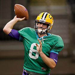 January 5, 2012; New Orleans, LA, USA; LSU Tigers quarterback Zach Mettenberger (8) during practice for the 2012 BCS National Championship game to be played on January 9, 2012 against the Alabama Crimson Tide at the Mercedes-Benz Superdome.  Mandatory Credit: Derick E. Hingle-US PRESSWIRE