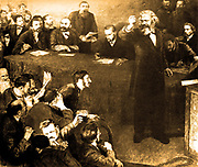 Karl Marx and Engels at the 1872 Hague Congress