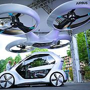 Turin, Italy - June 7, 2018: Salone dell Auto di Torino nel Parco del Valentino. Audi Pop.up una concept car che può trasformarsi in un drone.