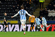 Richard Stearman of Huddersfield Town Celebrates as Karlan Grant of Huddersfield Town scores a goal 0-1 during the EFL Sky Bet Championship match between Hull City and Huddersfield Town at the KCOM Stadium, Kingston upon Hull, England on 28 January 2020.