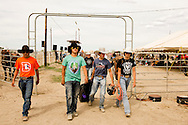 Crow Fair Rodeo, Crow Indian Reservation, Montana, young bull riders