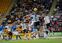 St Johnstone's  second penalty incident, Falkirk's Paul Watson (middle, back, 44) was booked but don't see what for. St Johnstone 3 v 0 Falkirk, Group B, Betfred Cup, played 23/7/2016 at St Johnstone's home ground, McDiarmid Park.