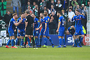 Referee Sargentson is surrounded by Rochdale players after Plymouth's second goal - hand ball in build up  during the EFL Sky Bet League 1 match between Plymouth Argyle and Rochdale at Home Park, Plymouth, England on 23 February 2019.