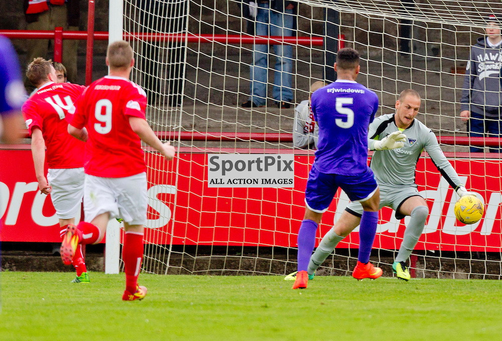 Brechin City v Dunfermline Athletic SPFL League One Season 2015/16 Glebe Park 08 August 2015<br /> David Weatherston scores past Sean Murdoch<br /> CRAIG BROWN | sportPix.org.uk