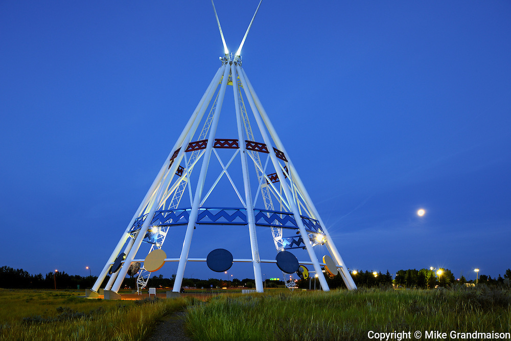Saamis Tepee at dusk<br /> Medicine Hat<br /> Alberta<br /> Canada