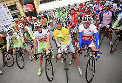 Riders Mitja Mahoric of Slovenia (Perutnina Ptuj), Jure Golcer of Slovenia (LPR Brakes) and Robert Kiserlovski of Croatia Adria Mobil) at start in Celje before last 4th stage of the 15th Tour de Slovenie from Celje to Novo mesto (157 km), on June 14,2008, Slovenia. (Photo by Vid Ponikvar / Sportal Images)/ Sportida)