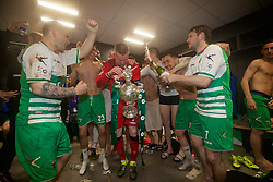 WREXHAM, WALES - Monday, May 2, 2016: The New Saints' captain goalkeeper Paul Harrison celebrates with his team-mates after the 2-0 victory over Airbus UK Broughton during the 129th Welsh Cup Final at the Racecourse Ground. Kai Edwards, Aaron Edwards, goalkeeper Paul Harrison, Ryan Brobbel, Christian Sergeant. (Pic by David Rawcliffe/Propaganda)