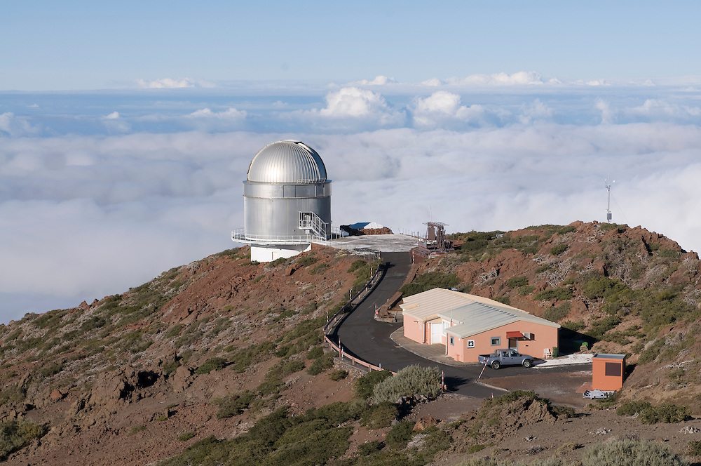 Astronomic Teleskops on top the volcano de Taburiente, La Palma, Canary island, Spain