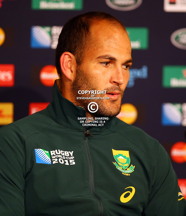 NEWCASTLE UPON TYNE, ENGLAND - OCTOBER 03:  Fourie du Preez (captain) of South Africa during the Rugby World Cup 2015 Pool B match between South Africa and Scotland at St James Park on October 03, 2015 in Newcastle upon Tyne, England. (Photo by Steve Haag/Gallo Images)