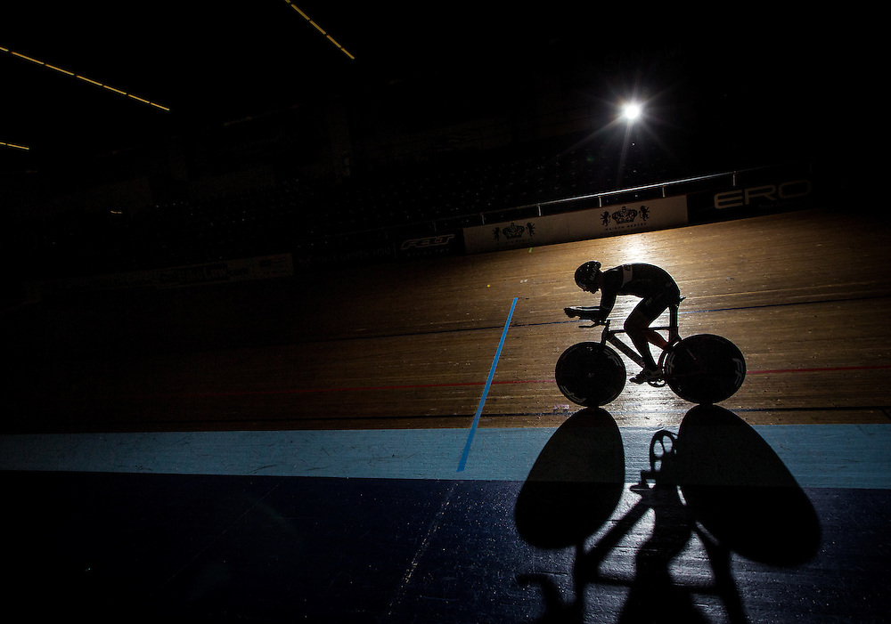 Elite Masters athlete John Rondash trains for an attempt at the Masters Hour Record at the Velodrome at StubHub Center on November 6, 2015.<br /> <br /> Photo by Marty McCrory / SportsShooter Academy