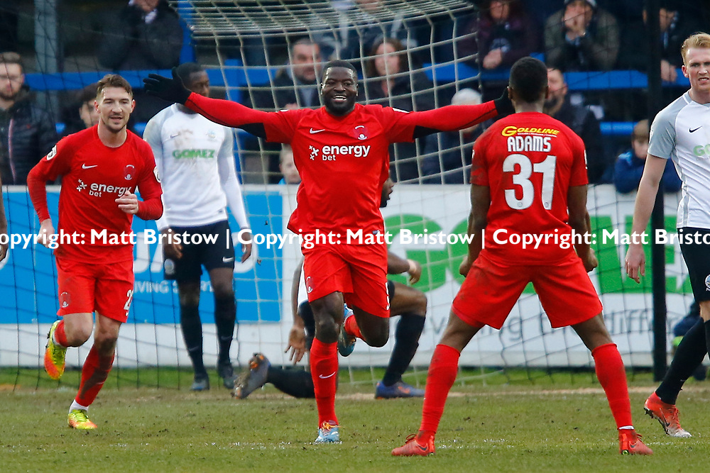 Leyton Orient's defender George Elokobi celebrates after scoring the O's first goal during the The FA Trophy match between Dover Athletic and Leyton Orient at Crabble Stadium, Kent on 3 February 2018. Photo by Matt Bristow.