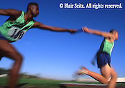 Outdoor recreation, Competitive Running, Track and Field, High School Runners Passing the Baton
