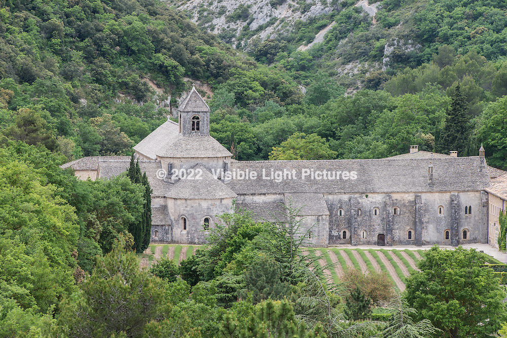 A view of the Notre-Dame de Senanque Abbey from the road approaching the property.