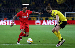 Nathaniel Clyne of Liverpool takes on Marcel Schmelzer of Borussia Dortmund - Mandatory by-line: Robbie Stephenson/JMP - 07/04/2016 - FOOTBALL - Signal Iduna Park - Dortmund,  - Borussia Dortmund v Liverpool - UEFA Europa League Quarter Finals First Leg