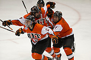 2012/03/13 - Taylor McReynolds celebrates his game-winning goal less than 3:00 into overtime in the Atlantic Hockey Semifinal against Niagara University at the Blue Cross Arena on March 16th, 2012. RIT won 2-1.