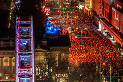 The crowd on Princes Street. Hogmanay in Edinburgh.