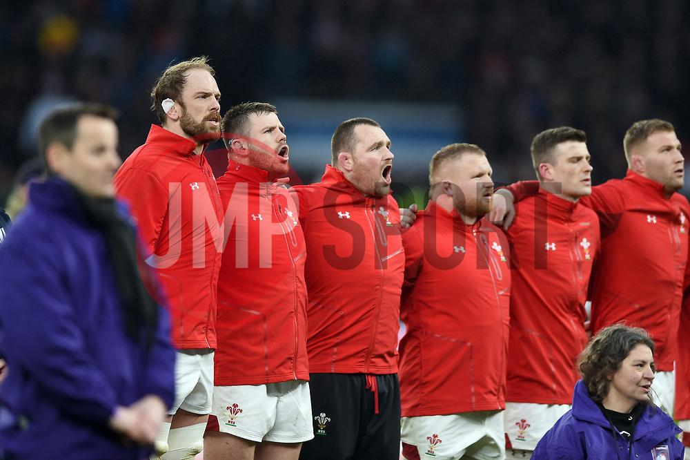 Wales players sing their national anthem - Mandatory byline: Patrick Khachfe/JMP - 07966 386802 - 10/02/2018 - RUGBY UNION - Twickenham Stadium - London, England - England v Wales - Natwest Six Nations
